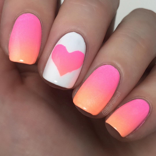 valentines ombre heart on nails