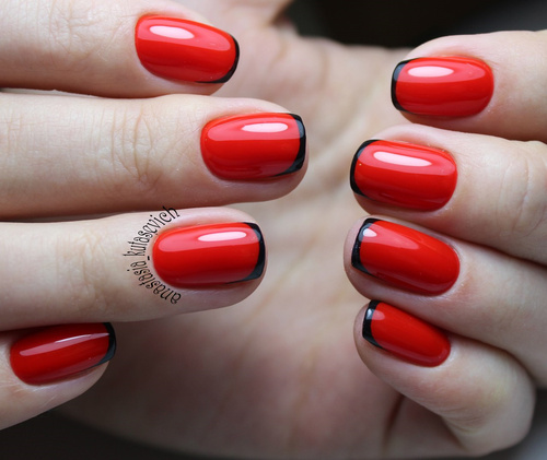red-french-nails-with-black-tips