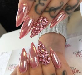 long-pink-chrome-acrylic-nails
