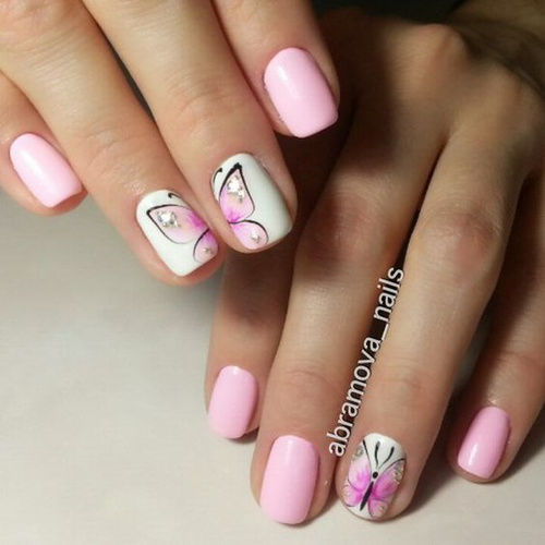 pink-and-white-nails-with-butterflies