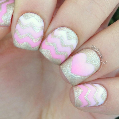 golden-and-pink-naildesign-for-14-february