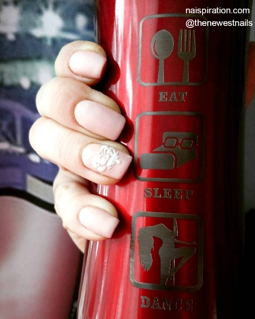 pink-matte-nails-with-white-heart
