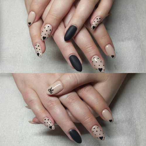 nude-and-black-polka-dot-nails-with-small-hearts