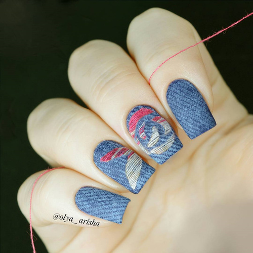 embroidered denim nail art