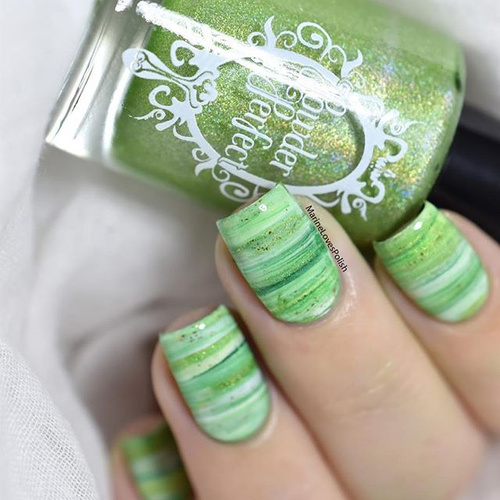 Greenery Nail Design with Stripes
