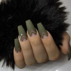 Matte Green Nails with Negative Space