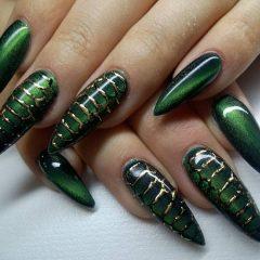 Green Cat Eye Reptile Nails