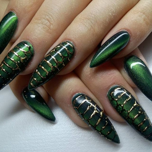 Green Cat Eye Reptile Nails