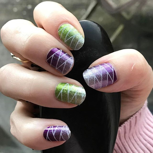 Geometric Green and Purple Nail Design