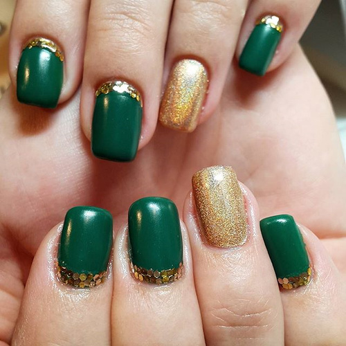 Emerald Green and Gold Design - Green Nails:Olive Green,Mint,Lime Shades NAILSPIRATION
