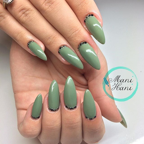 Light Green Stiletto Nails