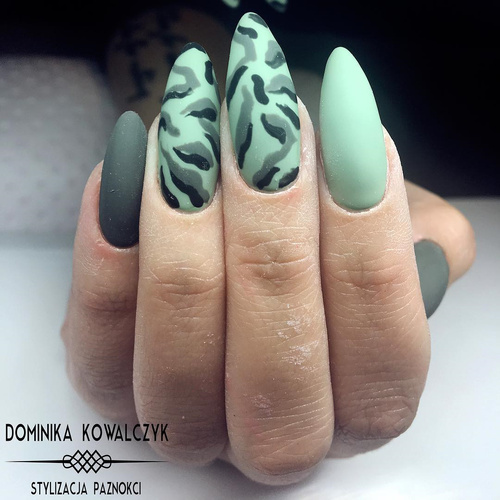 Matte Green Camouflage Nails