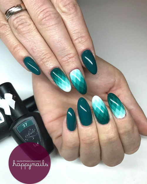 Geometric Blue and Green Nail Design