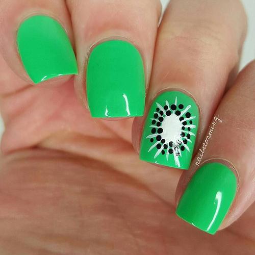 Green Kiwi Nail Design