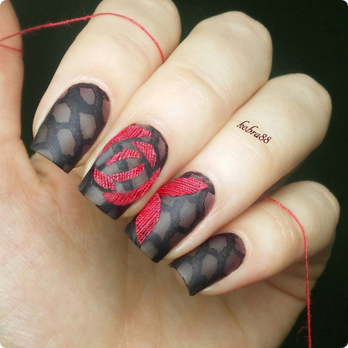 vamp embroidered nail design black and red