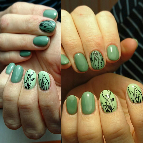 Green Floral nails with Thin Lines