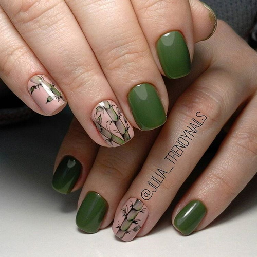 Olive Green Nail Design with Bamboo Drawing