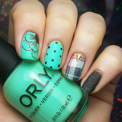 Mint Green Nails with Plaid, Dots and Flowers
