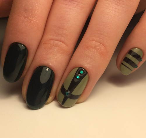 Black and Green Nail Design