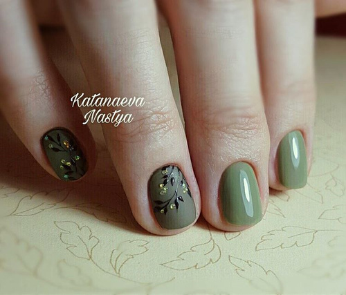 Olive Green Nail Art with Thin Leaves