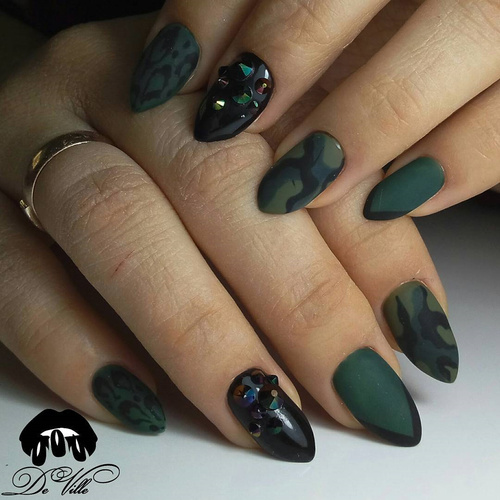Matte Green Nails with French Tips