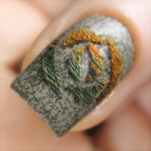 textile nail design with threads