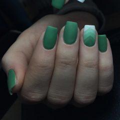 Matte Green Geometric Nail Art