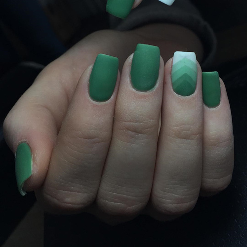 Matte Green Geometric Nail Art