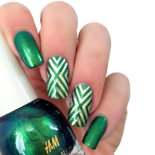 Green and Silver Nails