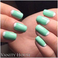 Half Moon Mint Green Nail Design