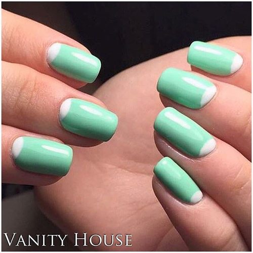 Half Moon Mint Green Nail Design