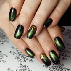 Green Cat Eye Nails with Crowns