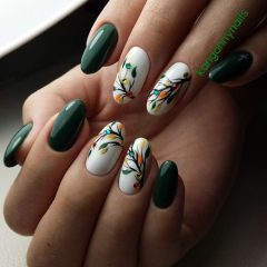 Green and White Nails with Leaves