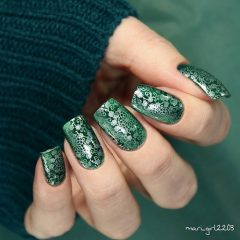 Emerald Green Nails with Stamping Lace