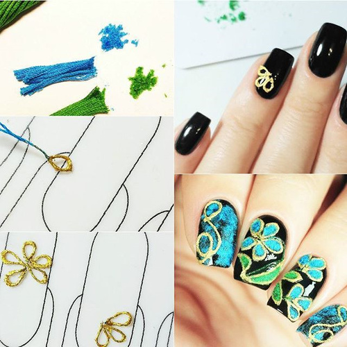embroidery nail design with flowers