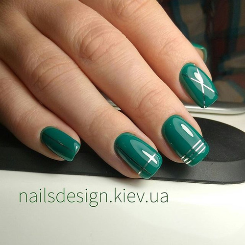 Green Nail Design with Striping tape