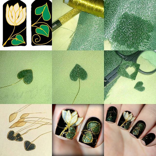 embroidery nail design with flowers and leaves