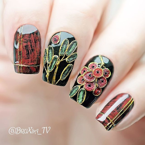 embroidery textile nail design diy