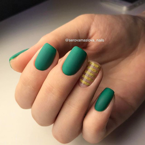 Green and Gold Nail Design with Stripes