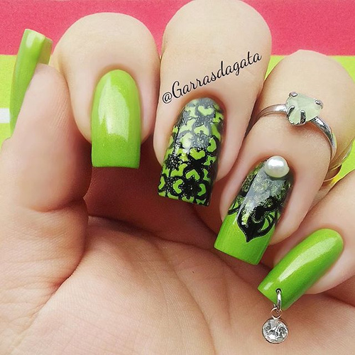 Lime Green Nails with Black Stamping