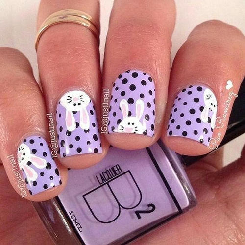 easter-nail-art-with-rabbits-and-dots