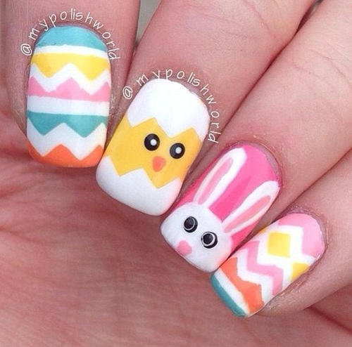 easter-nail-design-with-rabbit-and-chicken