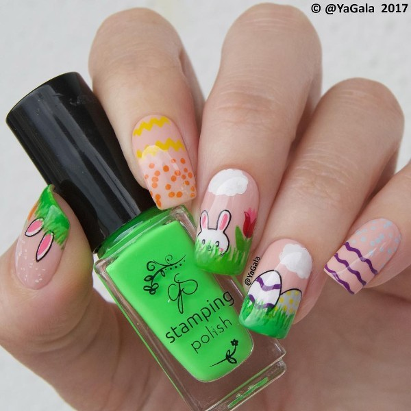 nude-easter-nail-design-with-bunny-eggs-grass