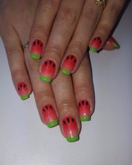 watermelon-nails-for-summer