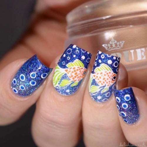 golden-fish-nail-design-for-summer