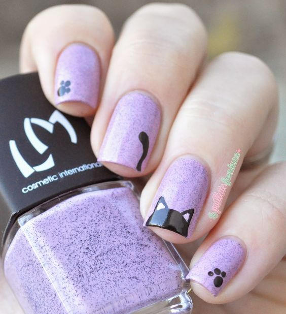 black cat on light purple nails