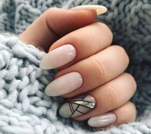 milk white geometric sweater weather mani
