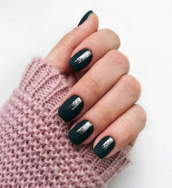 matte black nails with silver glitter stripes