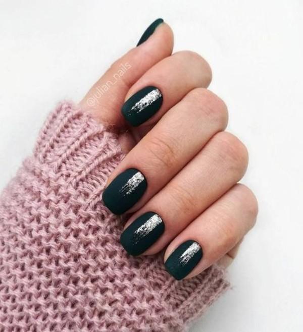 matte black nails with silver glitter stripes