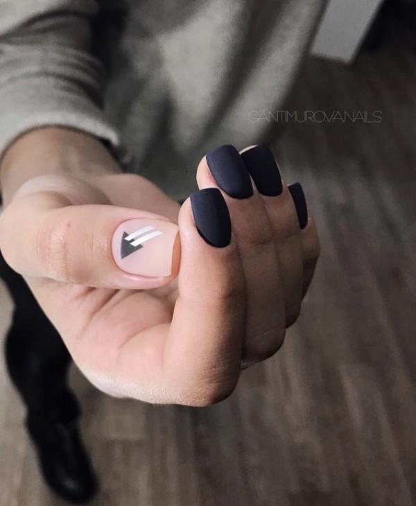 square dark matte manicure with a geometric design